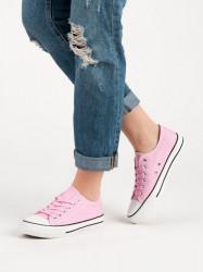 Výborné ružové dámske  tenisky bez podpätku #4