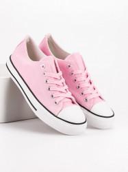 Výborné ružové dámske  tenisky bez podpätku #5