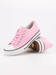 Výborné ružové dámske  tenisky bez podpätku #6