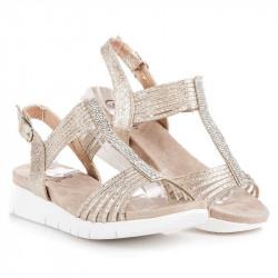 Výborné  sandále dámske zlaté na kline