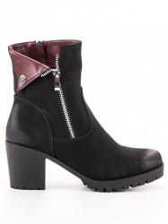 Zaujímavé  členkové topánky dámske čierne na širokom podpätku #2