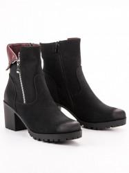 Zaujímavé  členkové topánky dámske čierne na širokom podpätku #3