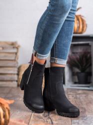 Zaujímavé  členkové topánky dámske čierne na širokom podpätku #5