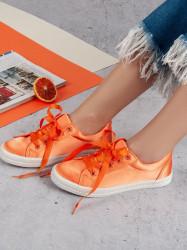 Zaujímavé dámske oranžové  tenisky bez podpätku
