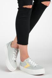 Zaujímavé dámske strieborné  tenisky bez podpätku #2