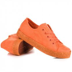 Zaujímavé dámske  tenisky oranžové bez podpätku