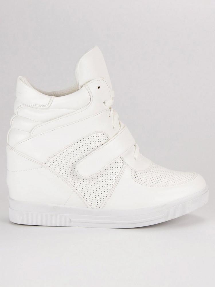 Biele tenisky na suchý zips - Dámske vysoké tenisky - Locca.sk 3f026ac7562