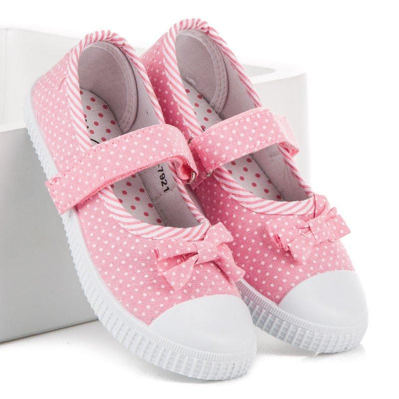 063e4658a2f8 Bodkované ružové dievčenské tenisky na suchý zips - Detské tenisky ...
