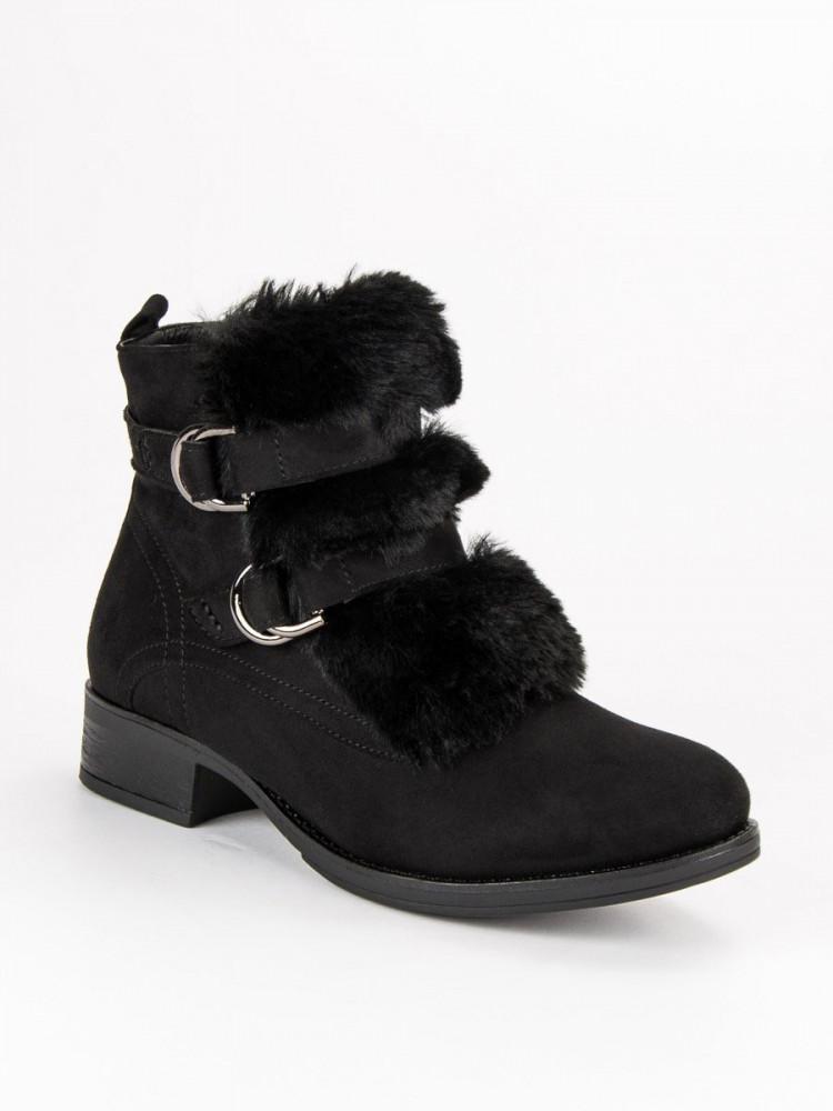 240f5267975a Čierne členkové topánky s kožušinkou - Dámske topánky - Locca.sk