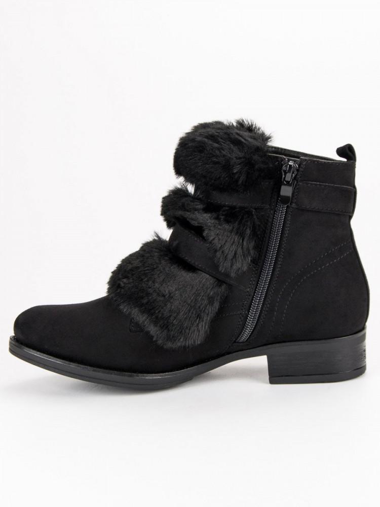 c33a9a6e7b7dd Čierne členkové topánky s kožušinkou - Dámske topánky - Locca.sk