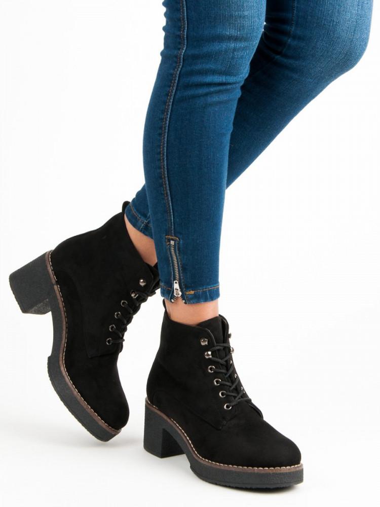 640ca96da7 Čierne semišové topánky na podpätku - Dámske topánky - Locca.sk