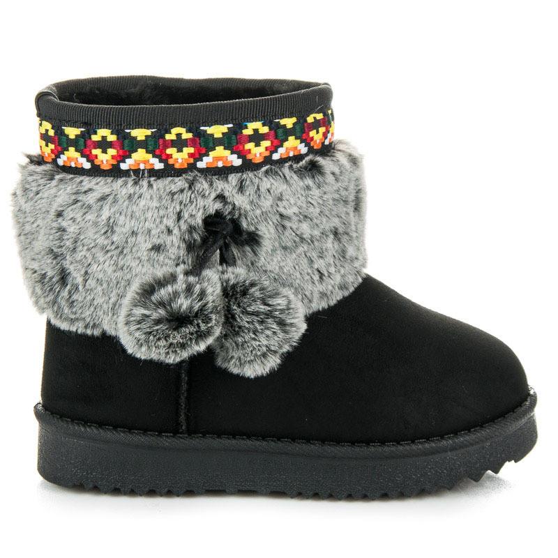 22653c8189f68 Dievčenské čierne snehule s brmbolcami - Detské čižmy - Locca.sk