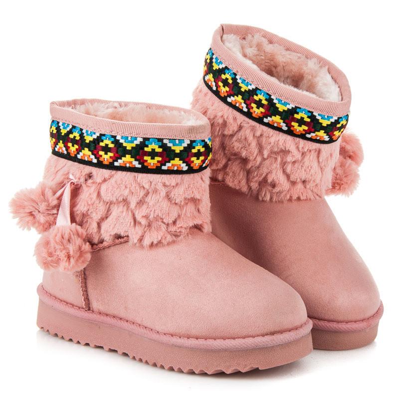 7d0e44aa4e470 Dievčenské ružové snehule s brmbolcami - Detské čižmy - Locca.sk