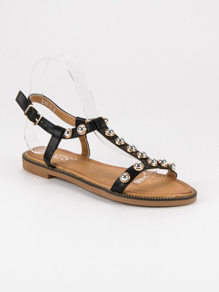 87a6a6d34923 Dizajnové dámske čierne bez podpätku - Dámske sandále - Locca.sk