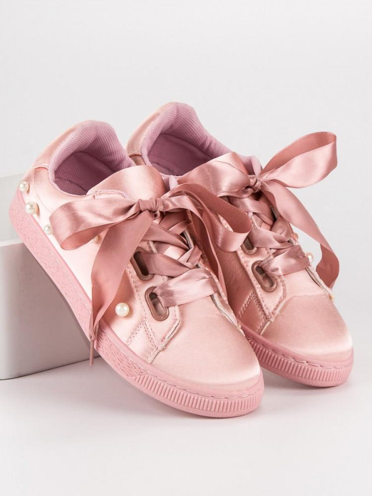 18935e604235 Dizajnové ružové dámske bez podpätku - Dámske členkové tenisky ...