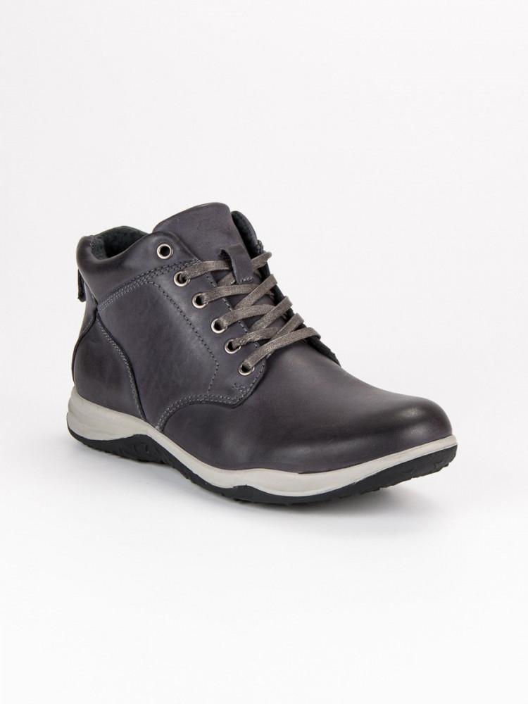 6b4be2e3df Dokonalé šedé pánske kožené členkové topánky - Pánska zimná obuv ...