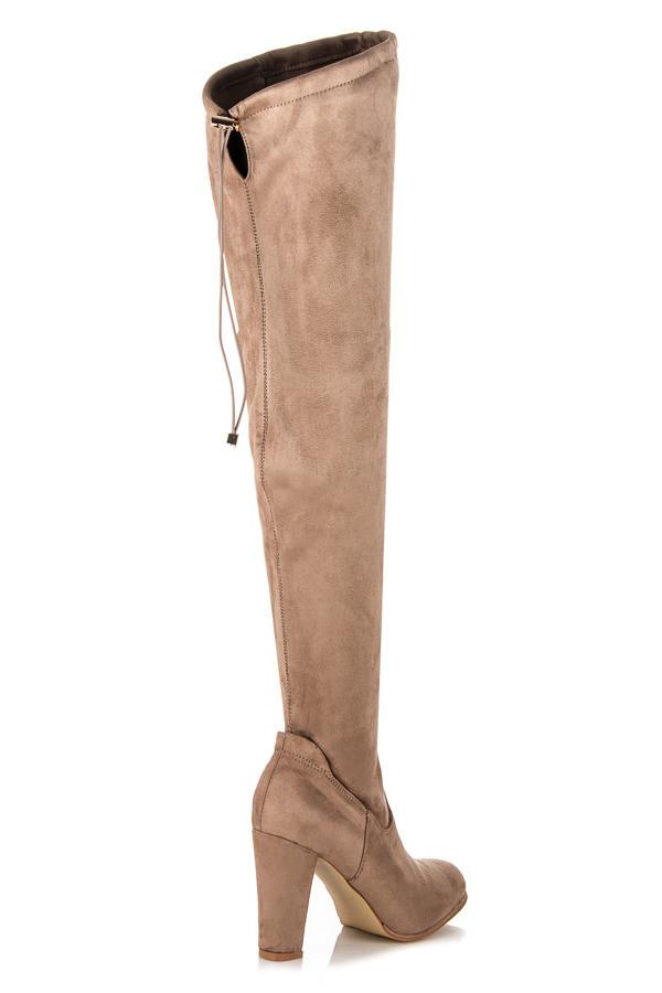 aad29e619d Elegantné béžové vysoké čižmy s pohodlným podpätkom - Dámske čižmy ...