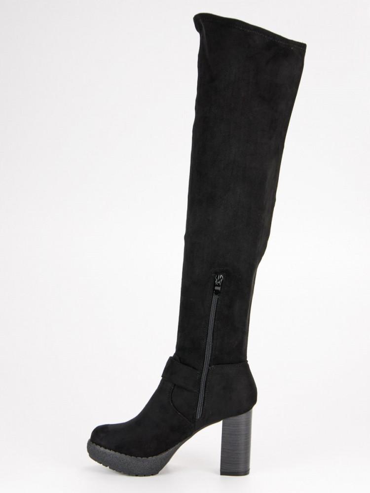 9079fe805c32 Elegantné čierne čižmy mušketýrky na stĺpiku - Dámske čižmy nad ...