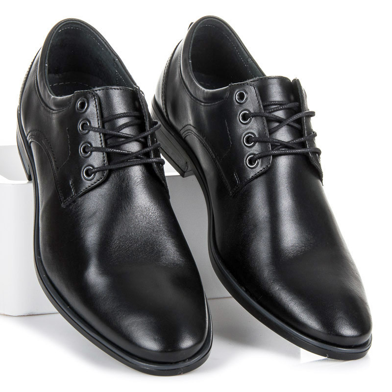 faa9759961044 Elegantné čierne pánske kožené poltopánky - Pánska elegantná obuv ...