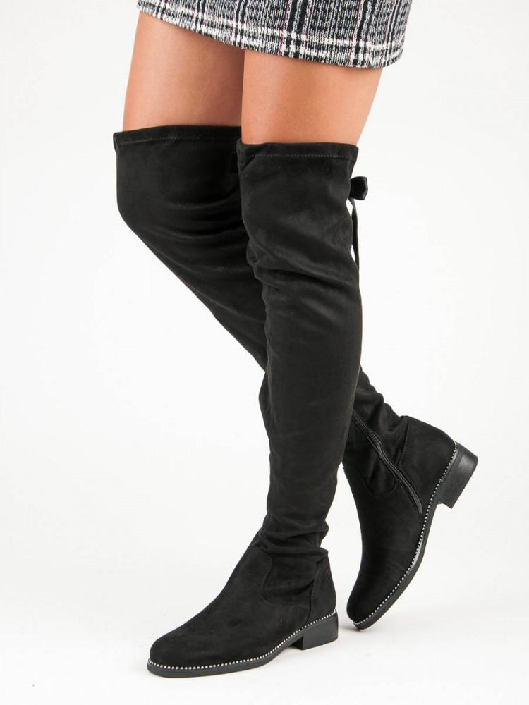 dd9680090336 Elegantné čierne semišové čižmy - Dámske čižmy nad kolená - Locca.sk