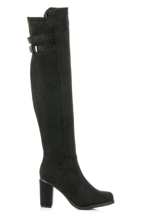 62c53c6fd6867 Elegantné čierne vysoké čižmy zdobené decentnou prackou - Dámske ...