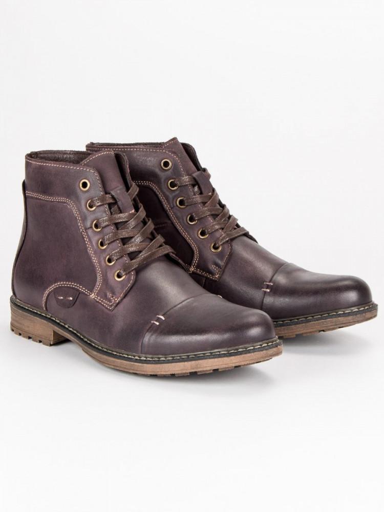 ba3e81e725d8 Elegantné hnedé pánske kožené topánky - Pánska zimná obuv - Locca.sk