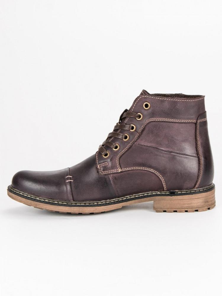 Elegantné hnedé pánske kožené topánky - Pánska zimná obuv - Locca.sk d2a8d3bba13