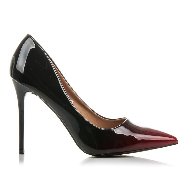 c2b9f9443b50 Elegantné lodičky na ihličkovom podpätku v čierno-červenej farbe ...