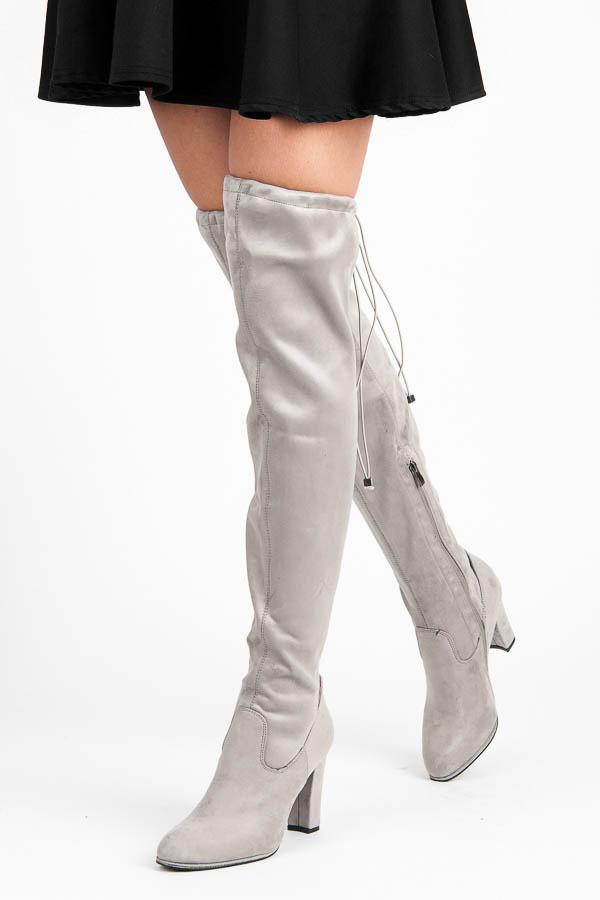 d0617dc562cb Elegantné šedé vysoké čižmy s pohodlným podpätkom - Dámske čižmy nad ...