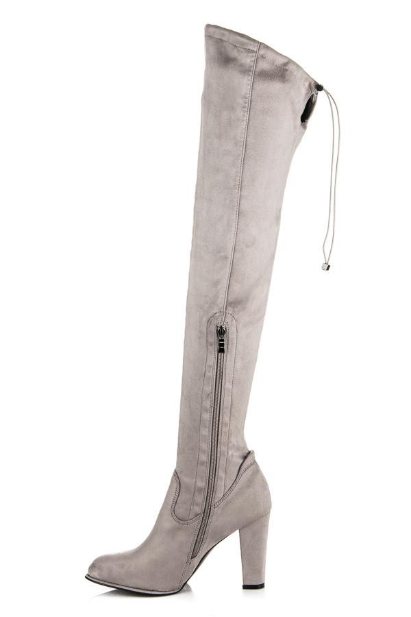 Elegantné šedé vysoké čižmy s pohodlným podpätkom - Dámske čižmy nad ... 09bc9245a6f