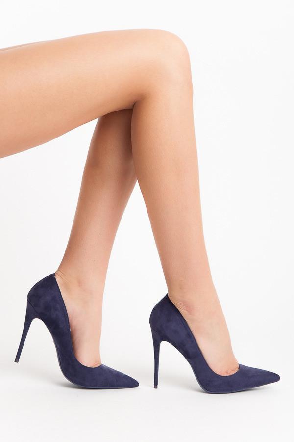 Elegantné semišové modré lodičky na ihlovom podpätku - Lodičky ... aaeea15ef0