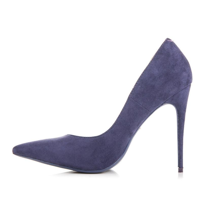 Elegantné semišové modré lodičky na ihlovom podpätku - Lodičky ... e42fc92252
