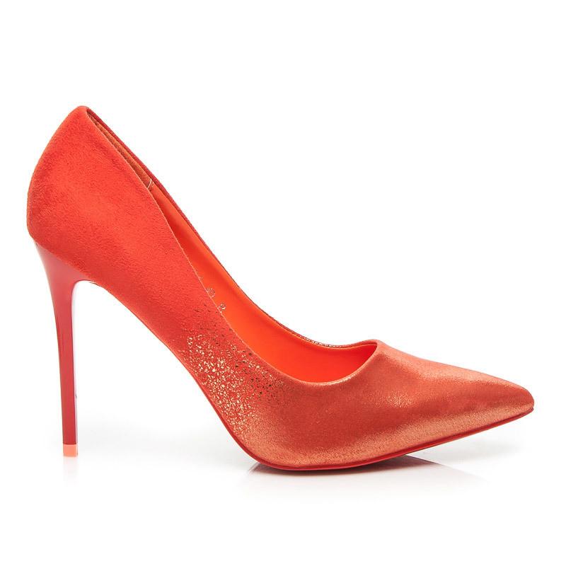 0fcadeab73b0 Elegantné trblietavé červené lodičky na ihlovom podpätku - Lodičky ...