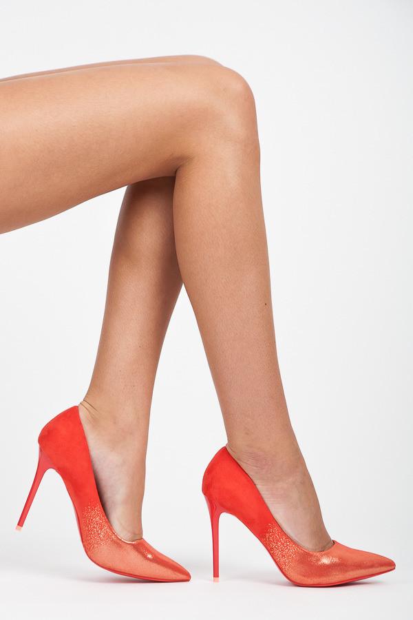 b02b570baa5 Elegantné trblietavé červené lodičky na ihlovom podpätku - Lodičky ...