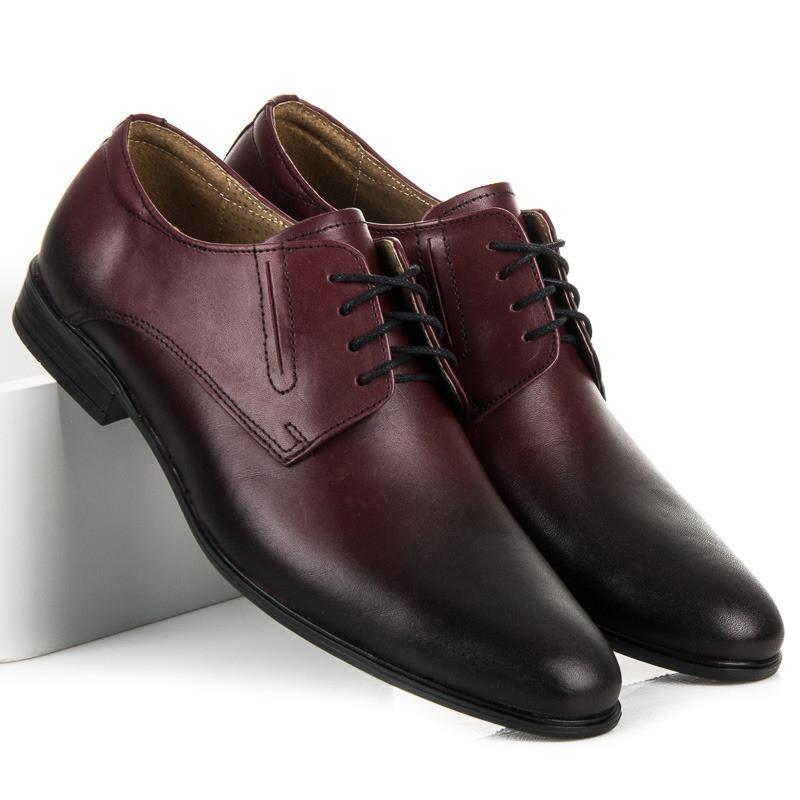 6168e49989b19 Elegantné vínové pánske kožené poltopánky - Pánska elegantná obuv ...