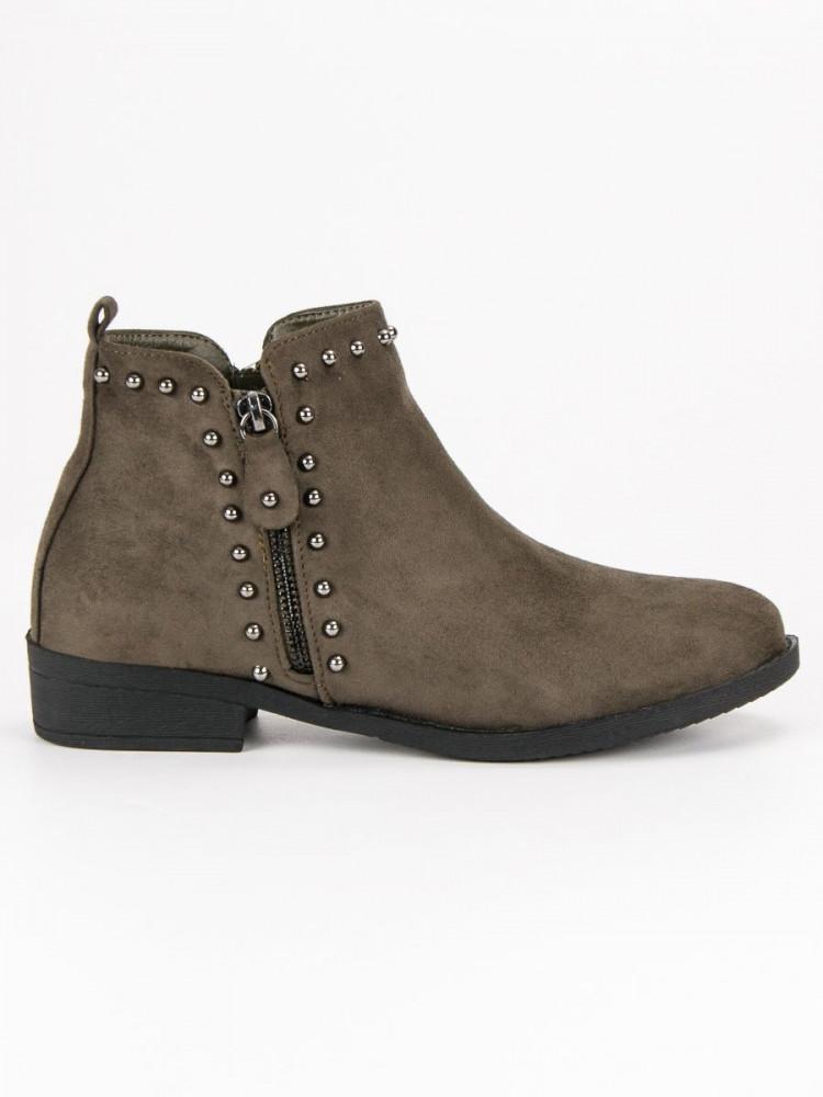 a25531e25c36 Exkluzívne dámske Členkové topánky zelené na plochom podpätku ...