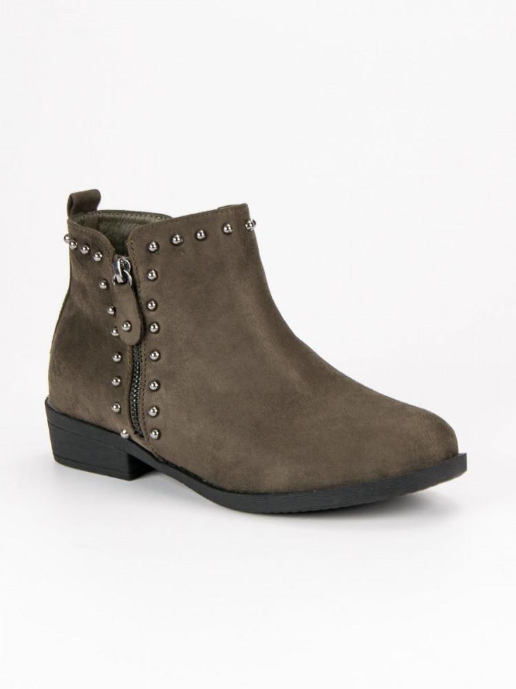 82900601b1cf Exkluzívne dámske Členkové topánky zelené na plochom podpätku ...