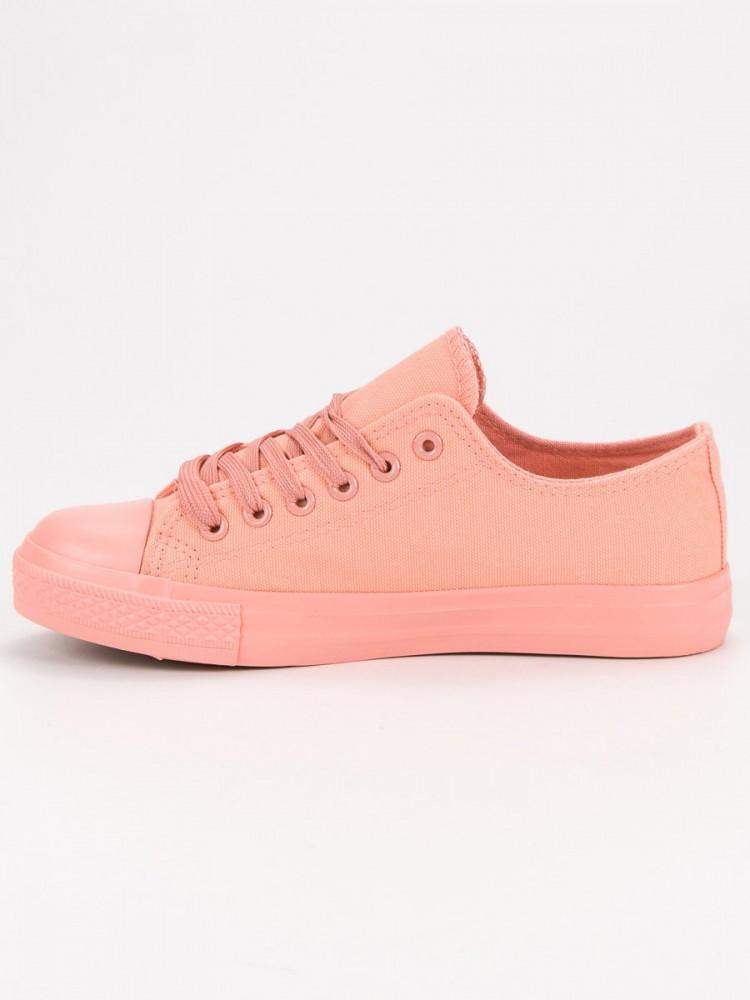 Exkluzívne ružové tenisky dámske bez podpätku - Dámske členkové ... 73a3fb588bc
