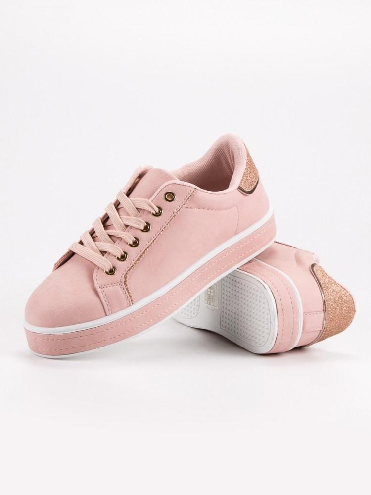 804bd9f43e9c Exkluzívne ružové tenisky dámske bez podpätku - Dámske členkové ...