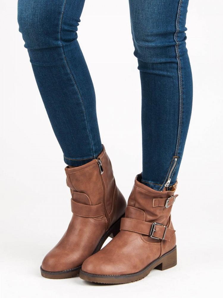 Hnedé členkové topánky s prackou - Dámske topánky - Locca.sk 45660cd5154