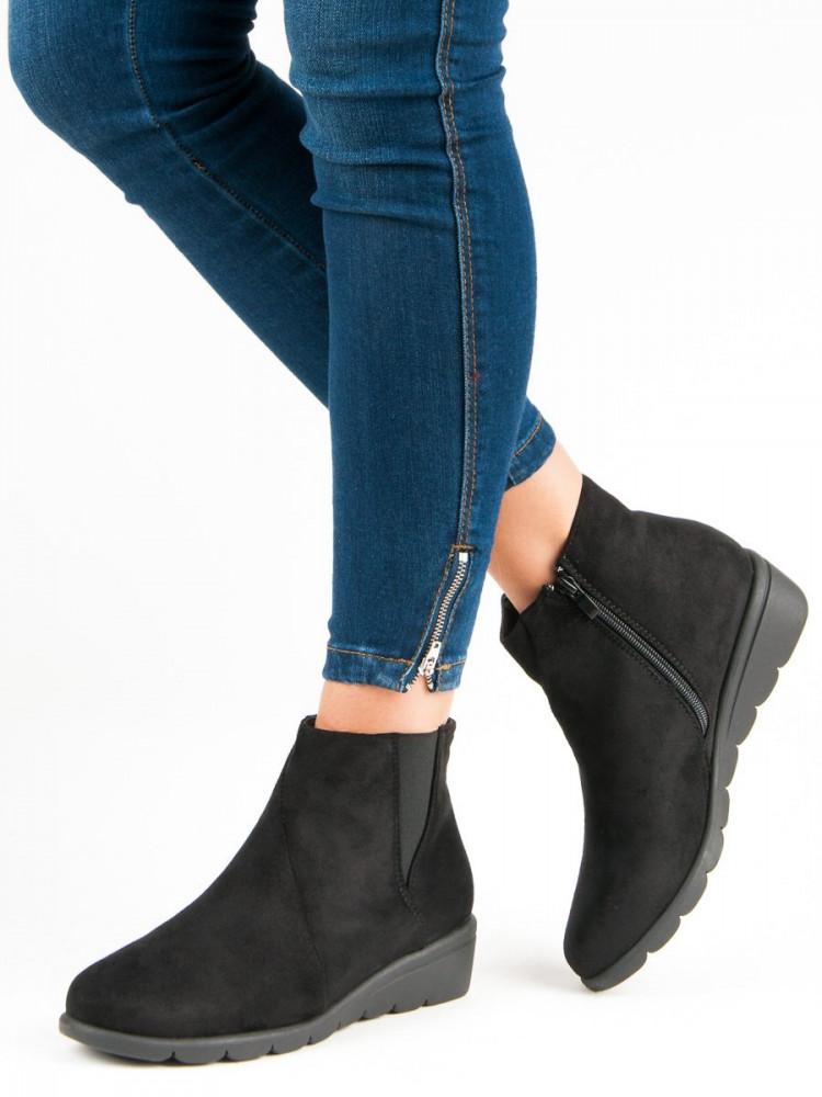 d725854cad2e0 Jedinečné Členkové topánky čierne dámske bez podpätku - Dámske ...