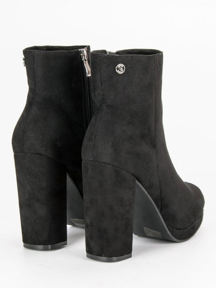 117de3c639102 Klasické čierne členkové topánky na stĺpiku - Dámske topánky - Locca.sk