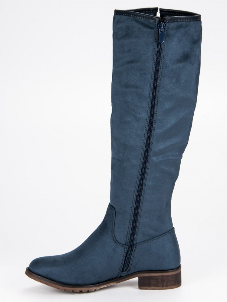Klasické modré semišové čižmy - Dámske vysoké čižmy - Locca.sk f5d390e0e18