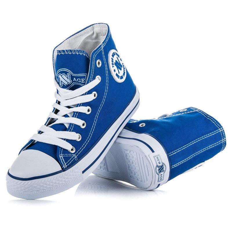 Klasické modré šnurovacie členkové tenisky - Dámske vysoké tenisky ... 8f97e656d05