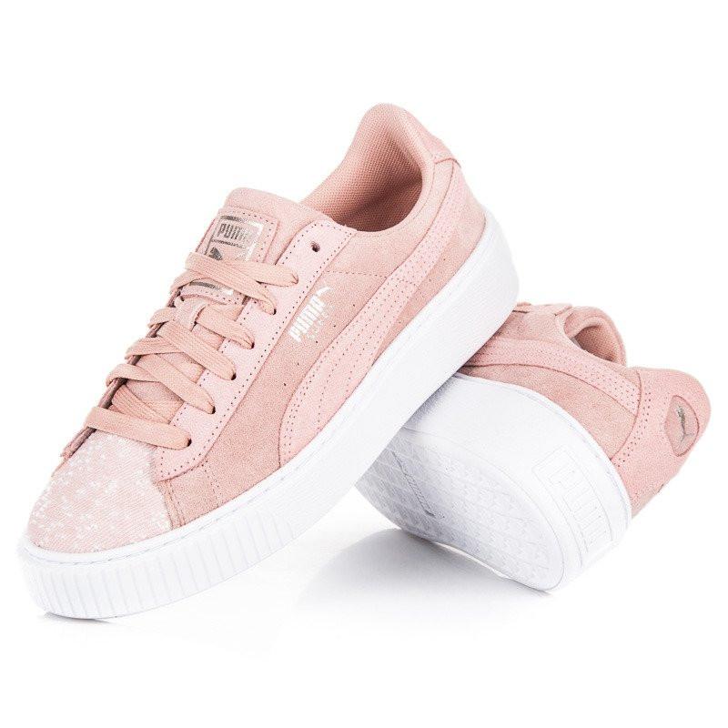 Klasické ružové kožené tenisky na platforme zn.Puma - Dámske ... e53cf4bce65