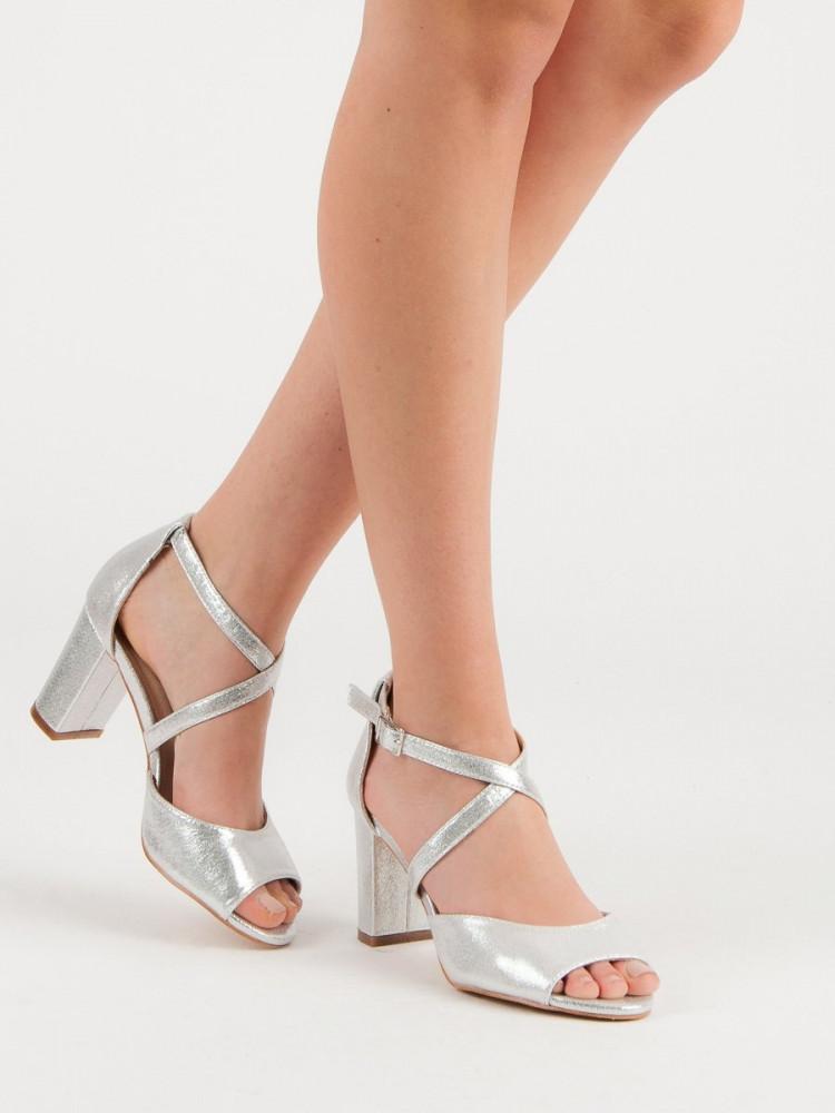 b09cef013f39 Klasické sandále dámske strieborné na širokom podpätku - Dámske ...