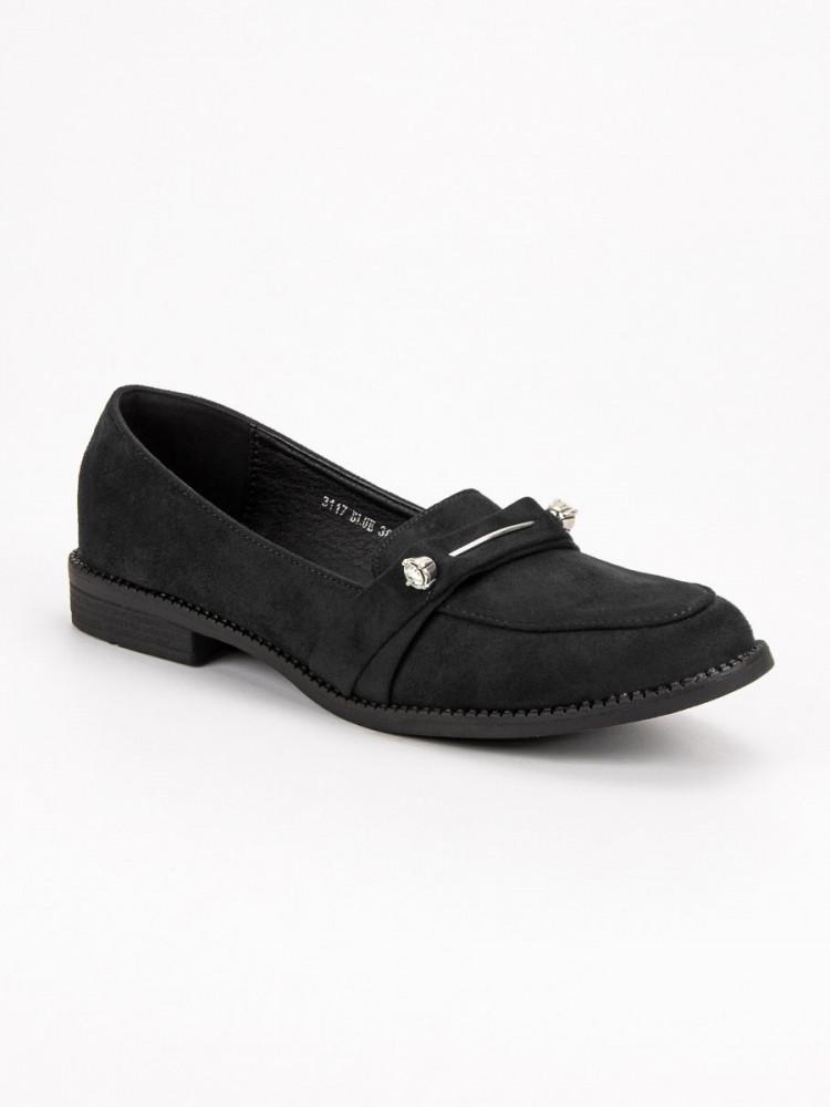 64e888c6a1 Komfortné čierne mokasíny dámske na plochom podpätku - Dámske ...
