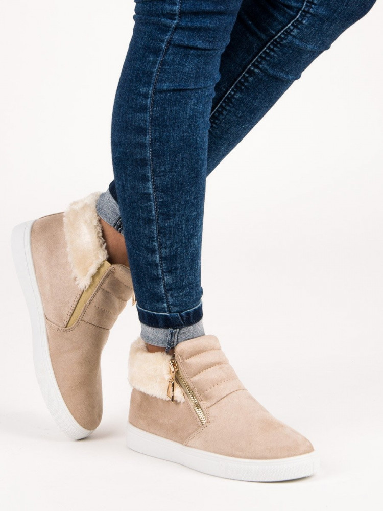 Komfortné dámske Členkové topánky hnedé bez podpätku - Dámske ... 390892ed469
