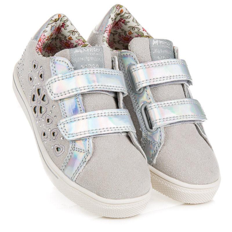 8eba83110c Komfortné detské tenisky a športové topánky strieborné bez podpätku ...