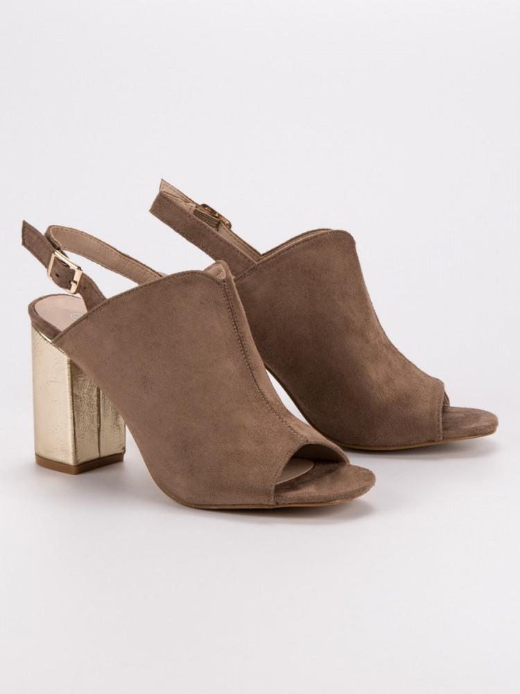 19c905b80b36d Krásne sandále hnedé dámske na širokom podpätku - Dámske sandále ...